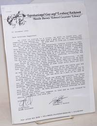 International Gay and Lesbian Archive, Natalie Barney, Edward Carpenter Library [fundraising letter]