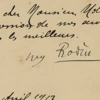 Auguste Rodin Writes His Agent, Setting the Prices of His Great Marble Sculptures of the Creation A rare letter referencing two of his iconic sculptures.