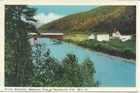 image of Matapedia River, Routhierville, Quebec, Canada on 1940s White Border Postcard