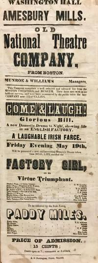 Mid-1800's American Traveling Theater Broadside: Washington Hall, Amesbury Mills. Old National Theatre Company, From Boston