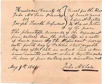 """COMPLAINT """"FOR THE TRIAL OF SMALL CAUSES"""" BEFORE ALBERTUS K. WAGNER, JUSTICE OF THE PEACE,  9 May 1846"""