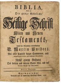 Biblia, das ist: die ganze go¨ttliche Heilige Schrift Alten und Neuen Testaments, / nach der deutschen Uebersetzung D. Martin Luthers