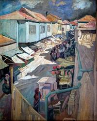 Street in Old Jerusalem. c.1920s. Oil on Panel