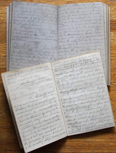 two volumes, 12mo, 107, 138 manuscript pages, bound in original roan backed boards, entries written ...