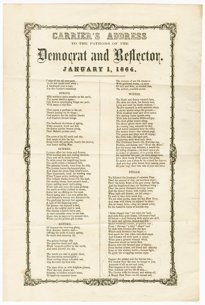 [N.p., but likely Schenectady, N.Y., 1863. Letterpress broadside, 15 x 10 inches, text surrounded by...