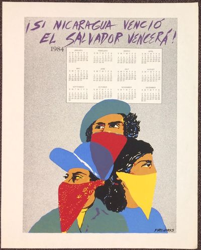 n.p.: Fireworks, 1983. 23x29 inch poster, silkscreened image of three people with bandanas covering ...