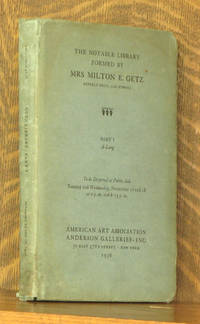 THE NOTABLE LIBRARY FORMED BY MRS MILTON E. GETZ, BEVERLY HILLS, CALIFORNIA, 1936 PART 1  A - LANG by anonymous - First edition - 1936 - from Andre Strong Bookseller (SKU: 33619)