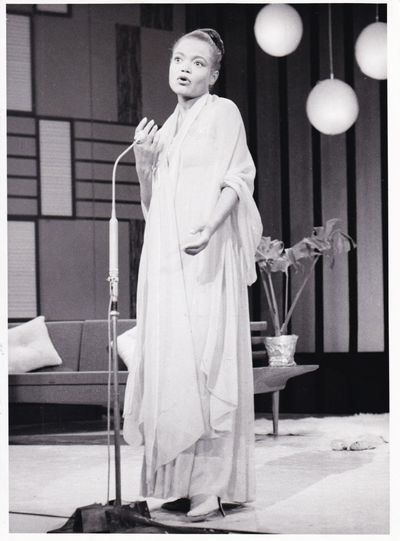 N.p.: N.p., 1961. Vintage photograph of singer, activist, actress and writer Eartha Kitt on British ...