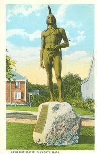 Massasoit Statue, Plymouth, Mass 1920s unused Postcard