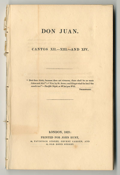 London: Printed for John Hunt, 1823. ,-168pp. Octavo (21 X 13.5cm). Extracted from bound pamphlet vo...