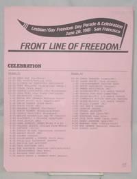Front line of freedom! [handbill] Lesbian/Gay Freedom Day Parade & Celebration, June 28, 1981, San Francisco