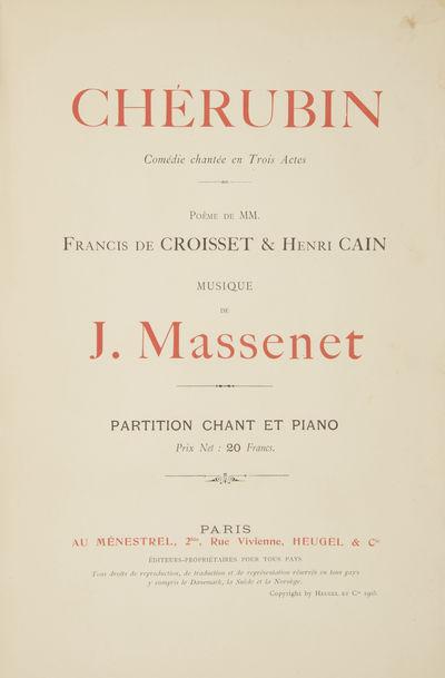 Paris: Au Ménestrel, Heugel & Cie. , 1905. Large octavo. Original publisher's dark ivory decorative...