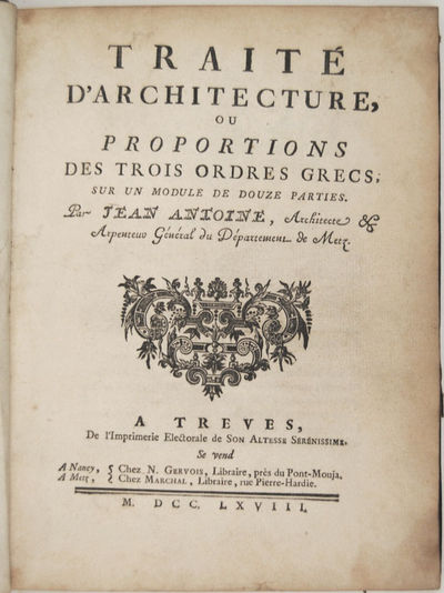 Treves: Imprimerie Electorale , 1768. Hardcover. Near Fine. Large 4to . (27) ff., pp. 1-132; 129-186...