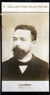 Photographie de la collection Félix Potin (4 x 7,5 cm) représentant : Paul Doumer, homme politique. Début XXe. Vers 1900.