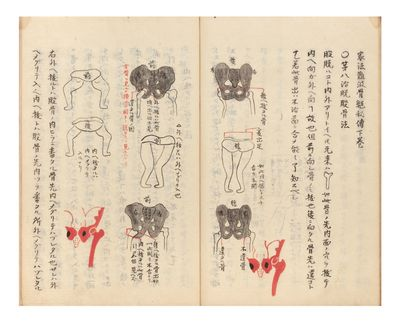 Numerous finely detailed brush & ink illus. in the text, some heightened in red ink or gray wash. 45...