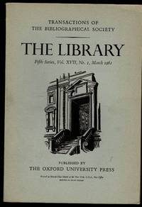 image of The Library 5th Series Vol XVII No. 1 March 1962: Transactions of the Bibliographical Society