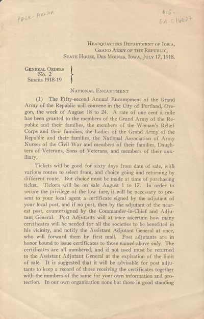 Des Moines, IA: Grand Army of the Republic. Very Good. 1918. Pamphlet. Self-wraps with 4pp of text. ...