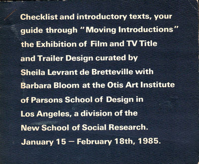 LA: Parsons School of Design, 1985. Paperback. Very good. Loose sheets bound by a single staple. Lig...