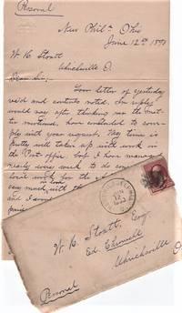 "HANDWRITTEN LETTER (ALS) TO W.H. STOUTT, EDITOR OF THE UHRICHSVILLE, OHIO ""CHRONICLE,""  12 June 1890"