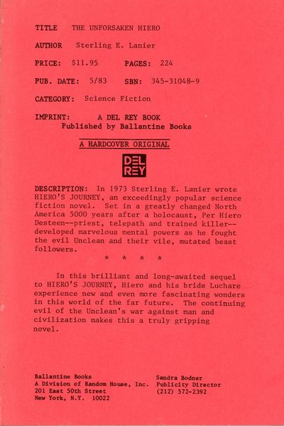 New York: Ballantine Books, 1983. Octavo, red wrappers printed in black. Advance copy (uncorrected p...