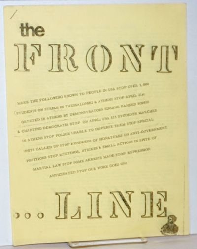 Clinton, NJ: Front Line c/o PENA, 1972. , 8.5x11 inch mimeographed sheets stapled at upper left, wra...