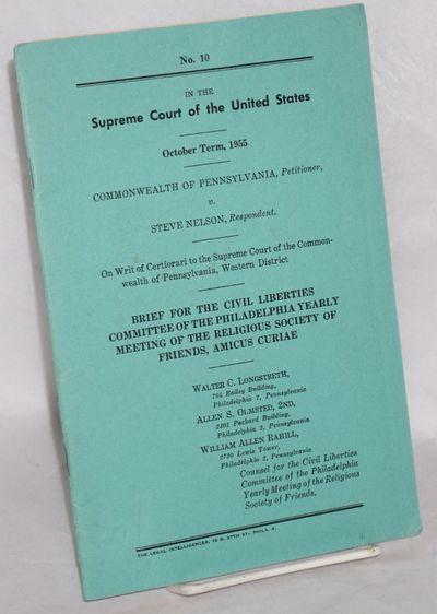 Philadelphia: Legal Intelligencer, 1955. 18p., folded fascimile, wraps, 6x9.25 inches, very good con...