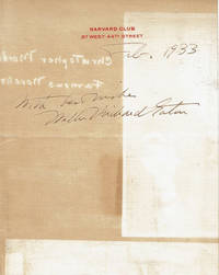 image of SHEET OF HARVARD CLUB LETTERHEAD INSCRIBED AND SIGNED BY AMERICAN DRAMA CRITIC AND AUTHOR WALTER PRICHARD EATON.