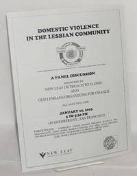 image of Domestic violence in the lesbian community; a panel discussion sponsored by New Leaf Outreach to Elders and Old Lesbians Organizing for Change ... January 12, 2003 .... San Francisco