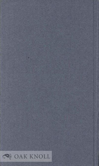 N.P.: Privately printed, 1963. stiff paper folder, paper spine label. Society of Private Printers. 1...