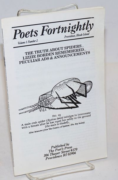 Providence RI: The Poets Press, 1991. Pamphlet. 5.5x8.5 inches, very good poetry journal in stapled ...