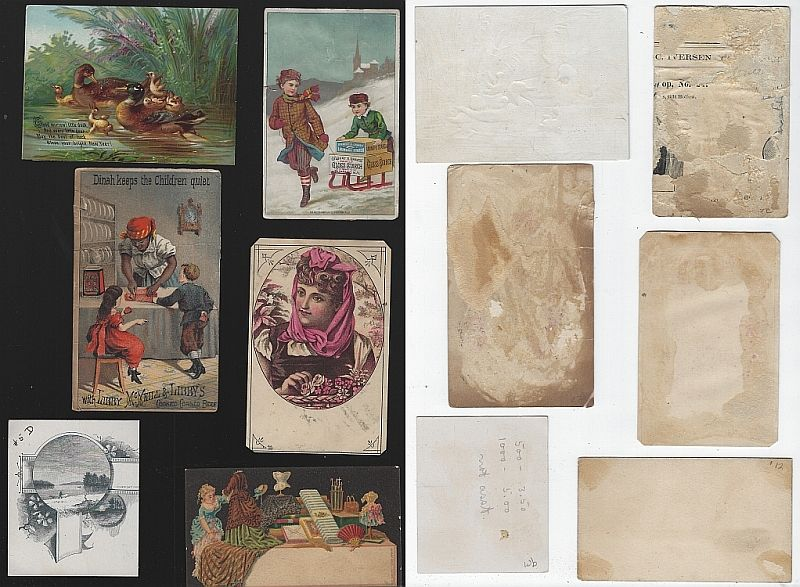 LOT OF SIX SCRAP VICTORIAN TRADE CARDS, Advertisement