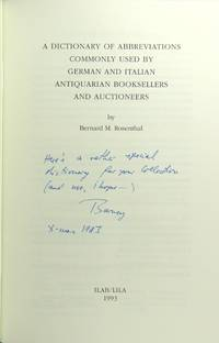A dictionary of abbreviations commonly used by German and Italian antiquarian booksellers and auctioneers