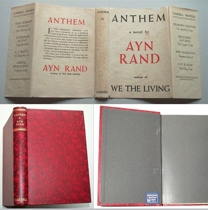 Anthem By Ayn Rand 1st Edition 1938 From Tbcl The Book