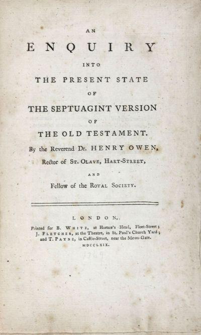 London: B. White; J. Fletcher; T. Payne, 1769. First edition. Hardcover. g. Octavo. X, 180pp. 1/3 cl...