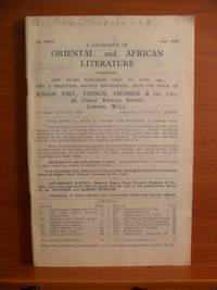 A CATALOGUE OF ORIENTAL and AFRICAN LITERATURE No. XXIV., July, 1933, comprising NEW BOOKS...