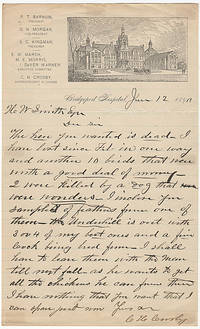 One-page letter on illustrated stationery from a prize-winning poulty breeder who served as the Superintendent of P. T. Barnum's Bridgeport Hospital