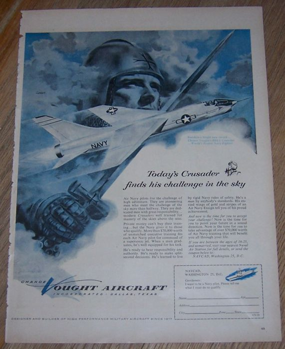 1956 LIFE MAGAZINE CHANCE VOUGHT AIRCRAFT ADVERTISEMENT, Advertisement