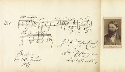 1 page. Oblong folio (320 x 234 mm). 7 measures from an unidentified composition in D minor for viol...