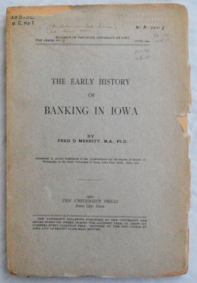 Iowa City, IA: The University Press, 1900. First Edition. Paperback. Good. FIRST EDITION of this doc...