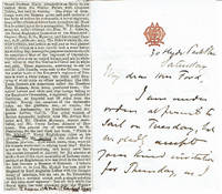 image of AUTOGRAPH LETTER TO MRS. MARY FORD OF PENCARROW SIGNED BY THOMAS MICHELL, ATTACHE AT THE BRITISH EMBASSY IN ST. PETERSBURG AND AUTHOR OF THE RUSSIAN MURRAY.