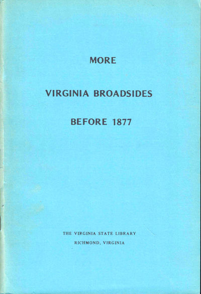 Richmond: Virginia State Library, 1975. Paperback. Very good. 76pp+ index. Edges tanned, else very g...