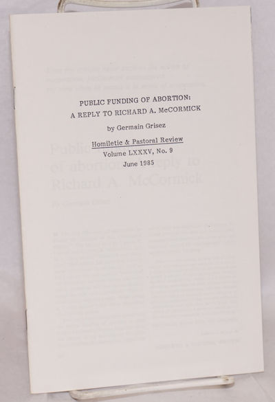 n.p.: Homiletic & Pastoral Review, 1985. , staplebound pamphlet; offprint from the Review. Very good...