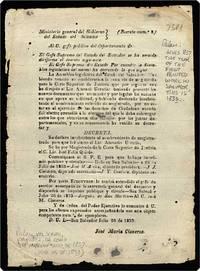 """Broadside, begins: """"Ministerio general del Gobierno del Estado del Salvador ... La Asamblea legislativa ... decreta. Se declara insubsistente el nombramiento de magistratado par que fue electo el Lic. Atanacio Urritia."""