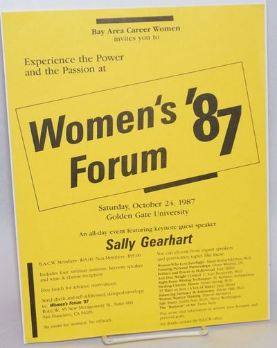 San Francisco: Bay Area Career Women, 1987. Single 8.5x11 inch handbill printed one side on brigh ye...