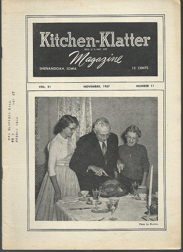 KITCHEN KLATTER MAGAZINE NOVEMBER 1957, Driftmier, Leanna Field