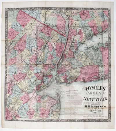 New York,, 1867. Hardcover. Very Good. 22 ¾ x 17 inches. With original red covers, separate; bright...