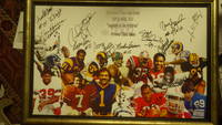 3RD ANNUAL GAME DAY EVENT 2011,  SUPER BOWL XLVI LEGENDS OF Gridiron, NFL FOOTBALL Prevent Child Abuse NEW YORK GIANTS CHAMPIONSHIP WINNER, COLOR POSTER, FRAMED, SIGNED REGGIE DOSS #71 RAMS ,  CRAIG MCEUWAN ?? ,