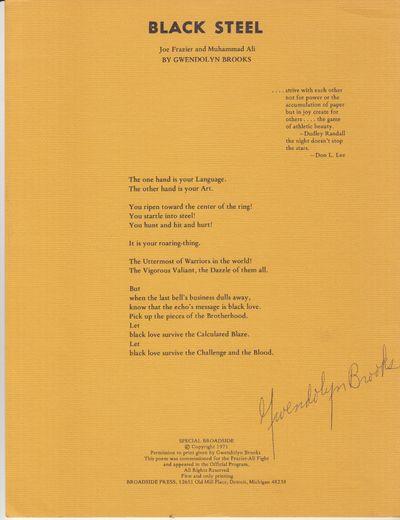 Detroit: Broadside Press. 1971. First Edition; First Printing. Broadside. Broadside, 8½ x 11