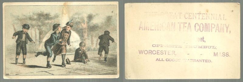 VICTORIAN TRADE CARD FOR THE GREAT CENTENNIAL AMERICAN TEA COMPANY WITH CHILDREN ROLLER SKATING, Advertisement