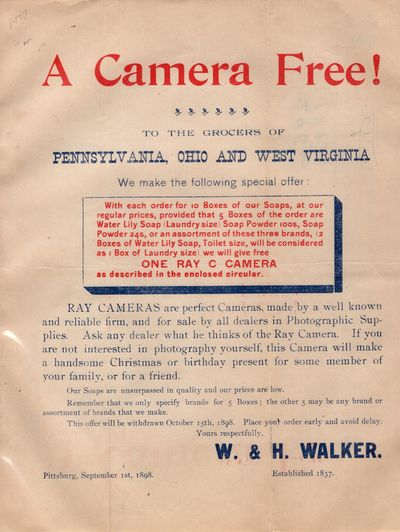 Pittsburg: W. and H. Walker. First Edition. Letter. Very good. Flyer printed in red and blue,